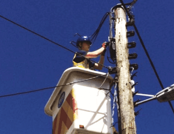 Newconn worker performing maintenance work on overhead electrical lines