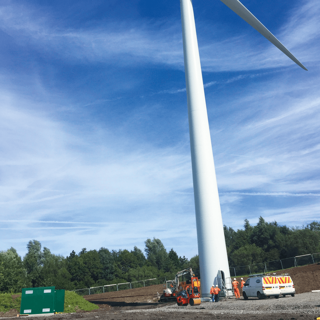 Electrical sub station installation work on wind turbine project in south wales
